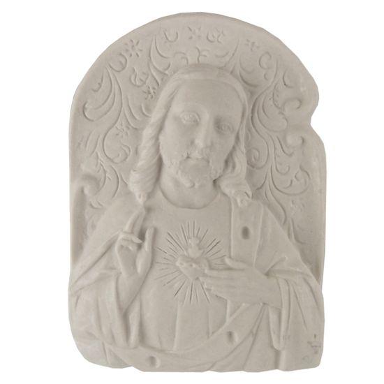Aplique Religioso Oval Sagrado Coração de Jesus 8,7x6,3cm - Resina