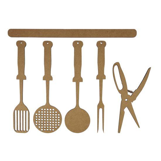 Aplique Utensílios de Cozinha 12cm em MDF com 6 Peças - Palácio da Arte