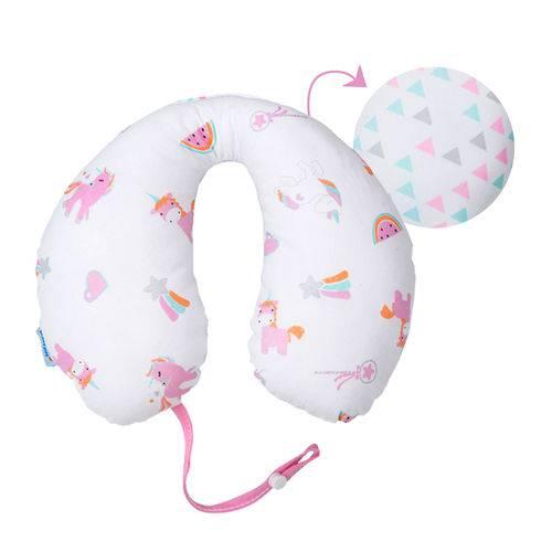 Apoio de Pescoço Travesseiro para Bebê com Prendedor de Chupeta Antialérgico 100% Algodão Unicórnio Brilha no Escuro