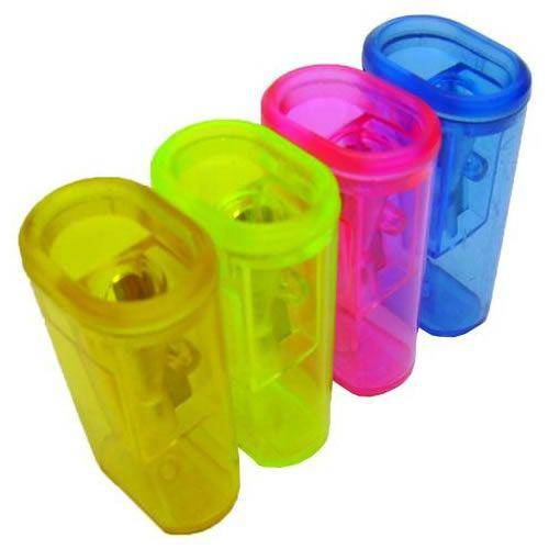 Apontador C/ Depósito Grande em Plástico Cores Sortidas 370 Cis Caixa 24 Un