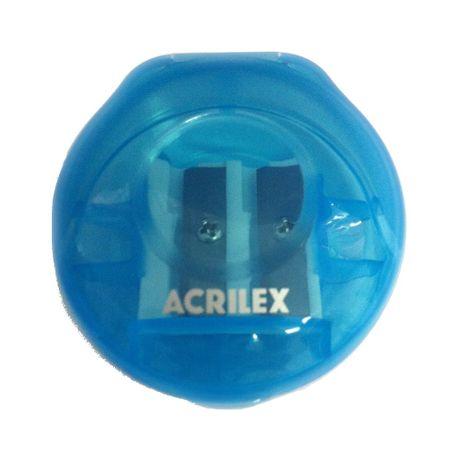 Apontador Duplo com Depósito Redondo Acrilex - Azul