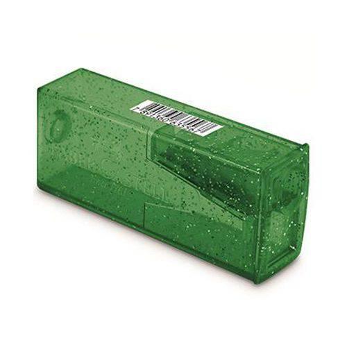 Apontador Escolar com Depósito Glitz Verde Faber Castell - 125glizf