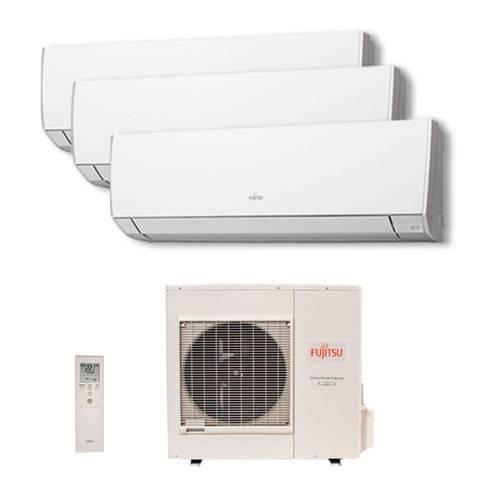 Ar Condicionado Multi Tri Split Inverter Fujitsu 2X9000 1X18000 Btus Hw Quente/Frio 220v 1F