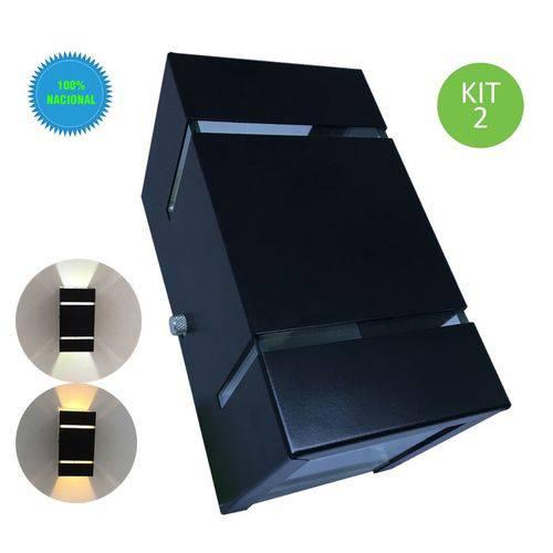 Arandela de Parede e Muro Externa Frisada Preta + Lâmpada Led 110V Kit 2