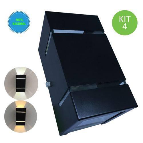 Arandela de Parede e Muro Externa Frisada Preta + Lâmpada Led 110V Kit 4