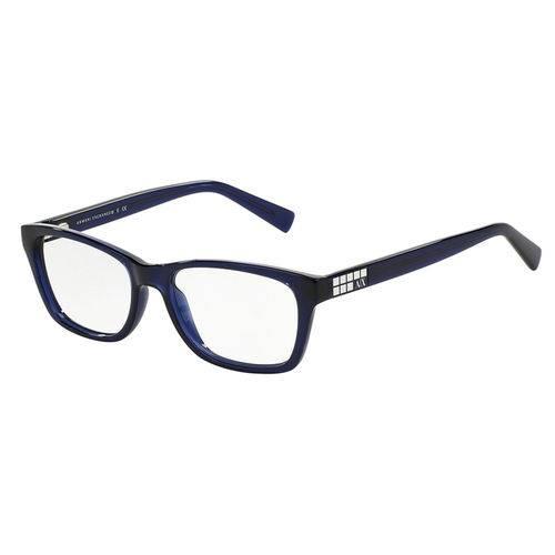 Armani Exchange Ax 3006l 8139 Azul Translúcido T52 Óculos de Grau