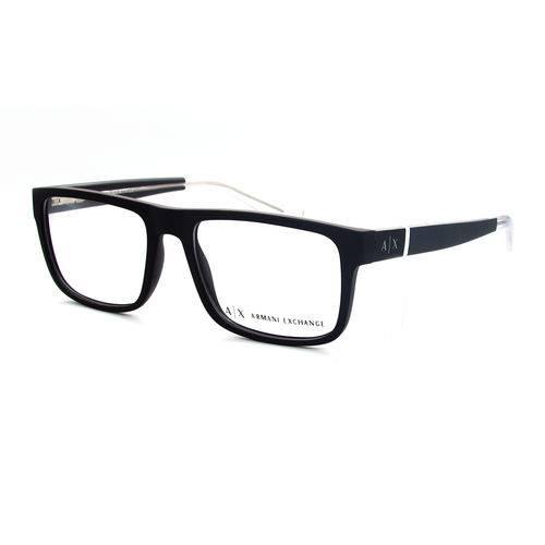 Armani Exchange Ax 3035 8078 Preto Fosco T54 Óculos de Grau