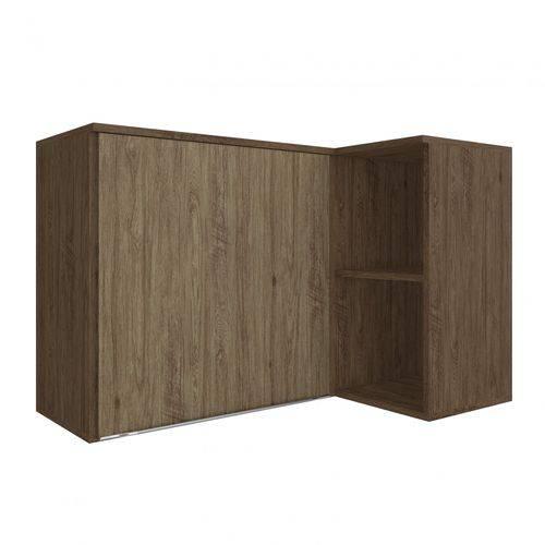 Armário Aéreo Canto Reto com Nicho 1 Porta Modulada Lis Decibal Cedro/Wood