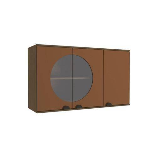 Armario Aereo Pop 3 Portas 120 Cm Jacaranda e Terracota