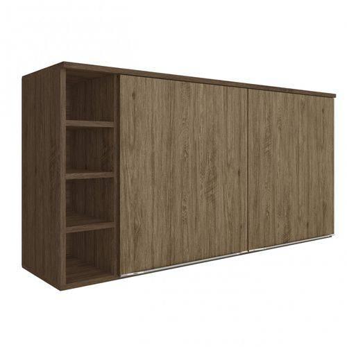 Armário Aéreo 2 Portas e Porta Vinho Modulada Lis Decibal Cedro/Wood
