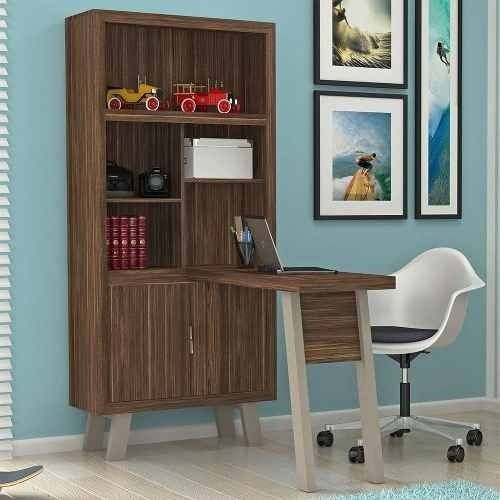 Armário com Escrivaninha ME4125 Tecno Mobili Nogal/Pés Fendi
