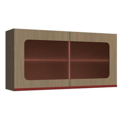 Armário de Cozinha Aéreo 2 Portas de Vidro New Urban Kappesberg Nature/Marsala