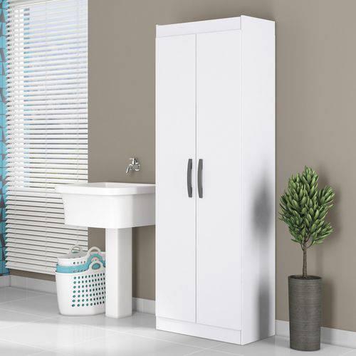 Armário Multiuso 2 Portas 4 Prateleiras 182cm Aramóveis Branco Texturizado