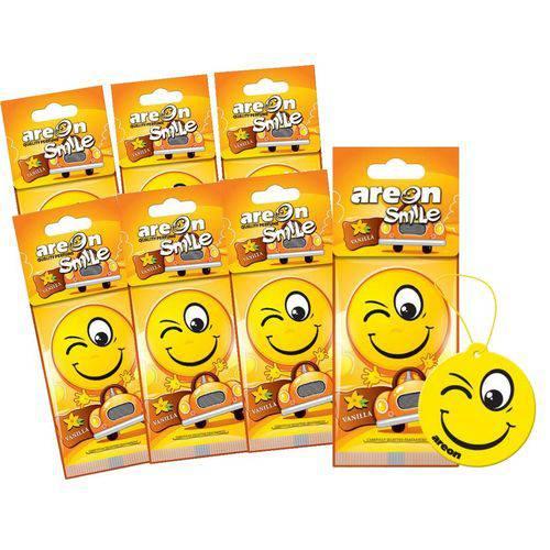 Aromatizante de Carro Sache Areon Smile Vanilla Baunilha Suave - Perfume Automotivo - 7 Unidades