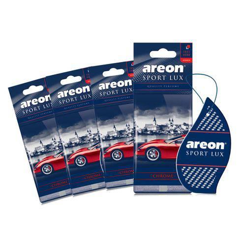 Aromatizante de Carro Sache Areon Sport Lux Chrome - Perfume Automotivo - 4 Unidades