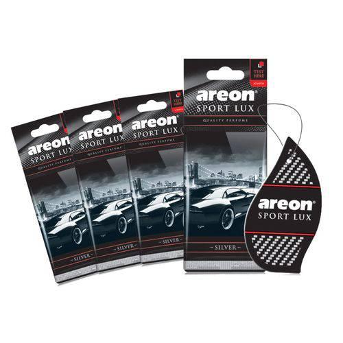 Aromatizante de Carro Sache Areon Sport Lux Silver Prata - Perfume Automotivo - 4 Unidades