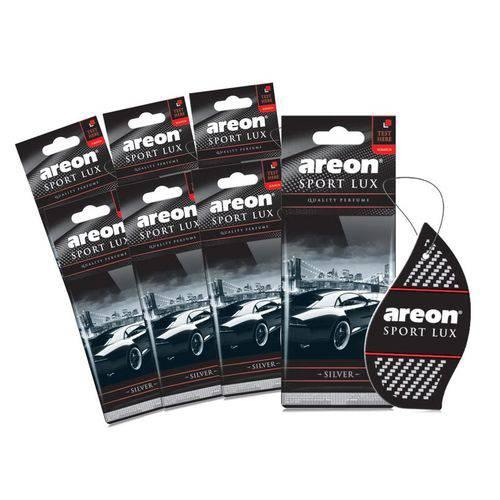 Aromatizante de Carro Sache Areon Sport Lux Silver Prata - Perfume Automotivo - 7 Unidades