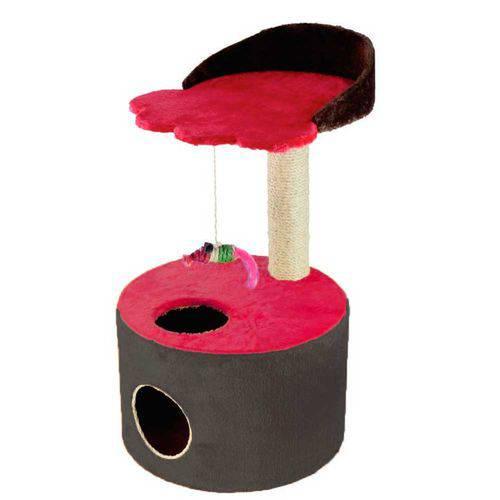 Arranhador para Gatos Tubo Pata Vermelho e Preto