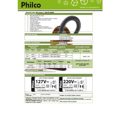 Aspirador Po Philco Hepa Pas1690 127v