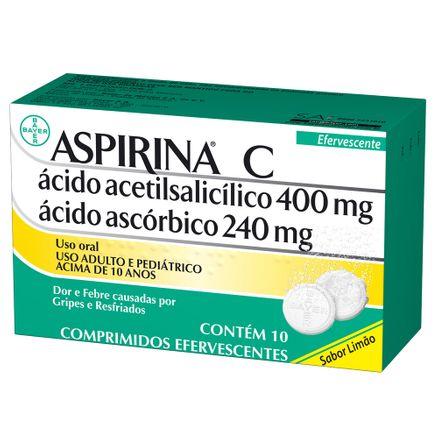 Aspirina C Sabor Limão 10 Comprimidos Efervescentes