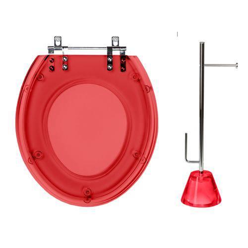 Assento Sanitário com Papeleira Poliéster Vermelho Translúcido