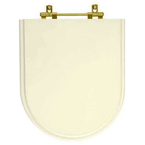 Assento Sanitario Poliester Carrara Creme Ferragem Dourada para Vaso Deca