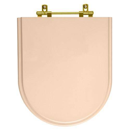 Assento Sanitario Poliester Carrara Rosa Floral Ferragem Dourada para Vaso Deca
