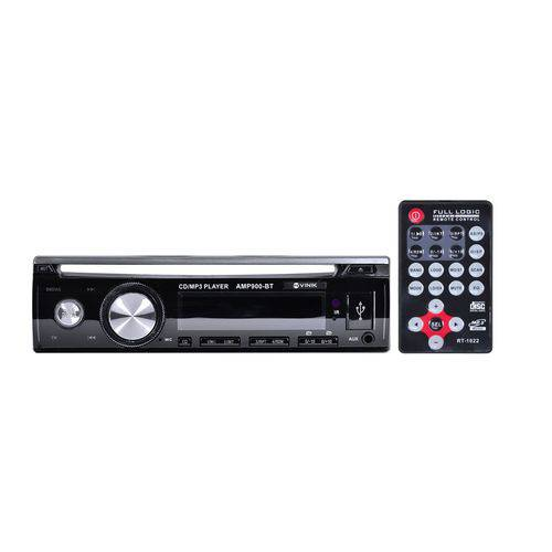 Auto Rádio USB Bluetooth 12VDC 4x45W 4Ohms AMP900BT Vinik