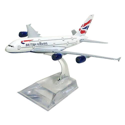 Avião Comercial British Airways Airbus A380 Metal Miniatura