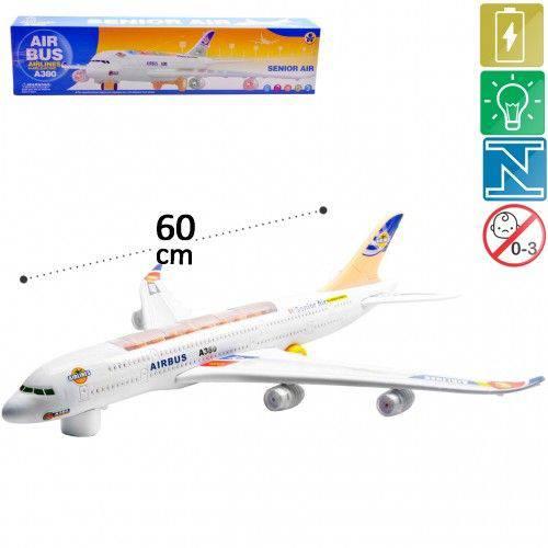 Avião de Plástico com Motor a Pilha do Modelo Air Bus Airline A380