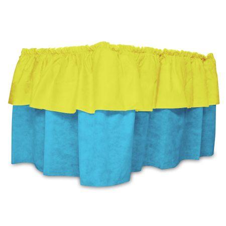 Babado de Mesa de TNT Amarelo C/ Azul
