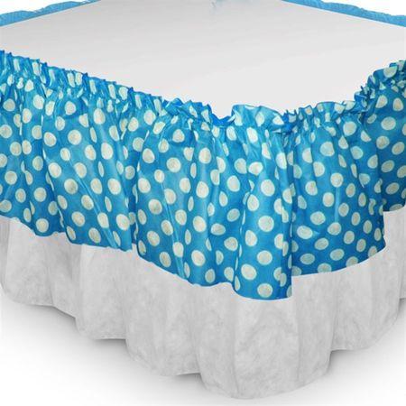 Babado de Mesa de TNT Azul Poá Branco C/ Branco