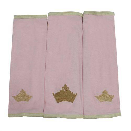 Babinha de Malha Princesa Luxo Rosa 3 Peças