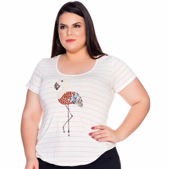 Baby Look Flamingo Bordado Plus Size G