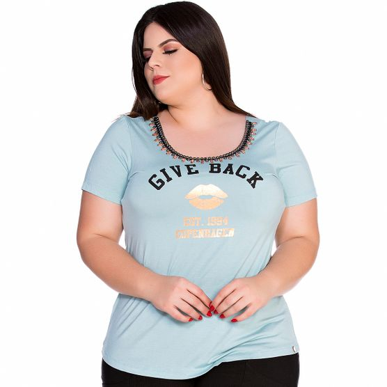 Baby Look Give Back Bordada Plus Size M