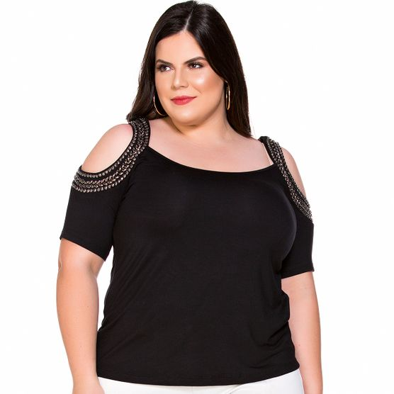 Baby Look Plus Size Bordada Nos Ombros Baby Look Bordada Nos Ombros G