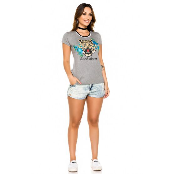 Baby Look Tigre com Patch Floral P