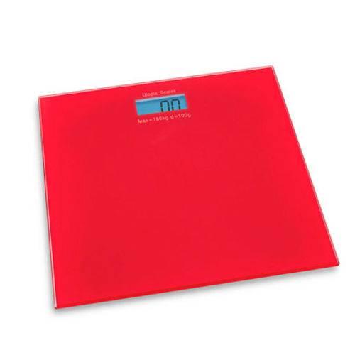 Balança Digital de Vidro para Banheiro Vermelha 180 Kg