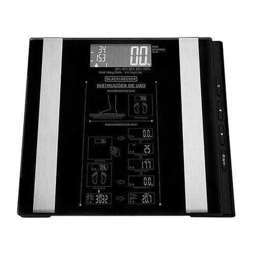 Balança Eletrônica de Banheiro Blackdecker a Bateria Bk55 Preta Até 180kg