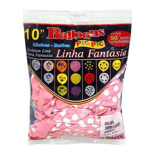 Balão 10 Fantasia Rosa Bebê/Branco C/50 - Pic Pic