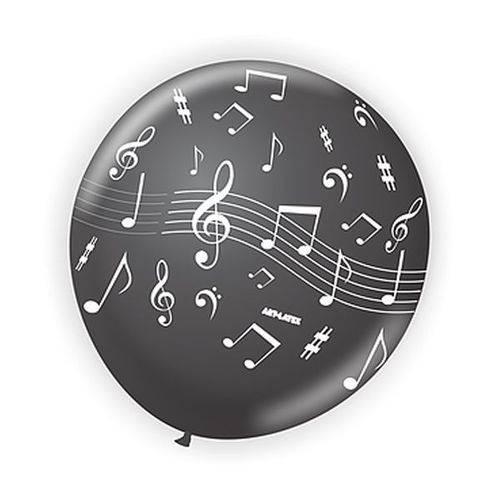 Balão 9 Notas Musicais Preto