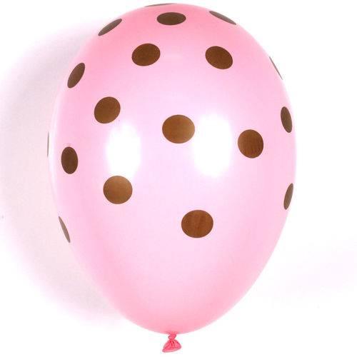 Balão / Bexiga Happy Day N11 Confete Rosa / Marrom C/25