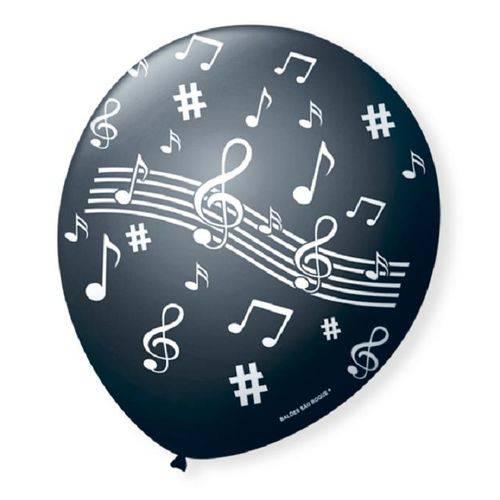 Balão Bexiga Nota Musical Preto com Branco N 9 -25 Unidades