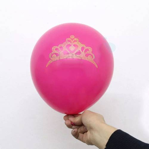 Balão Bexiga Pink Coroa Glitter Nº 11 - 12 Unidades