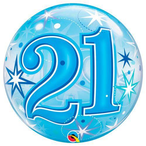 Balão Bubble - 21 Anos Boy - 22 Polegadas - Qualatex