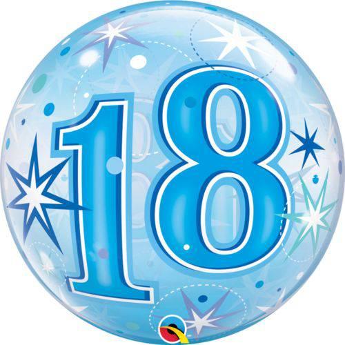 Balão Bubble - 18 Anos Boy - 22 Polegadas - Qualatex