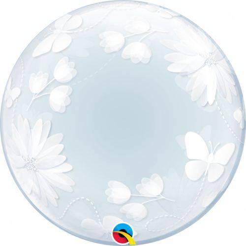 Balão Bubble - Borboletas e Flores - 20 Polegadas - Qualatex