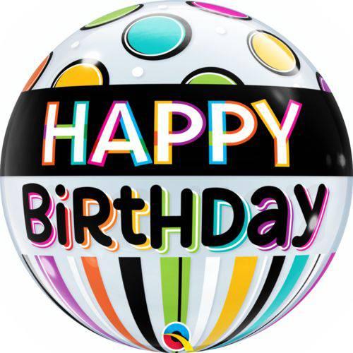 Balão Bubble - Happy Birthday Neon - 22 Polegadas - Qualatex