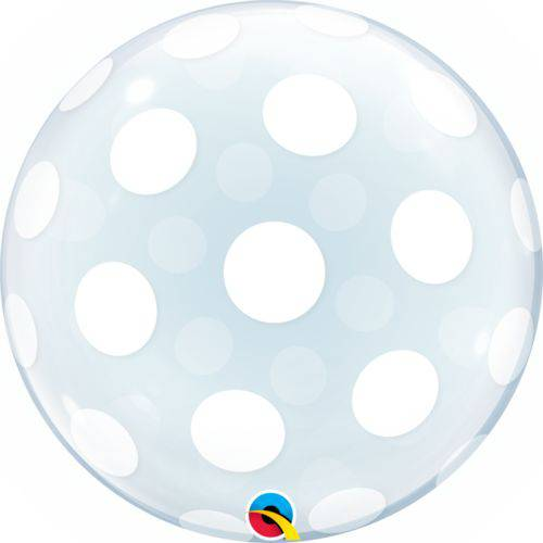 Balão Bubble - Poá Branco - 20 Polegadas - Qualatex