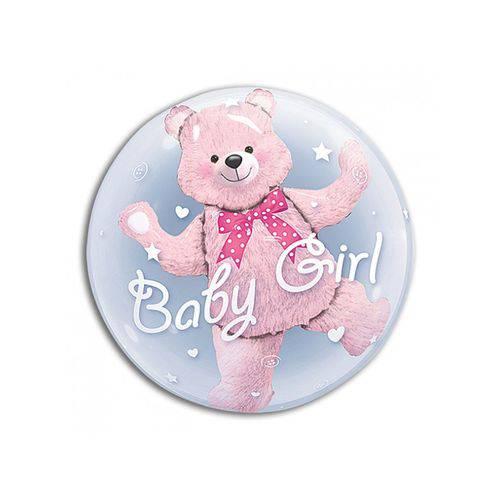 Balão Bubble - Urso Baby Girl - 24 Polegadas - Qualatex
